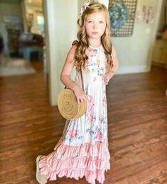 Kryssi Kouture Girls Peach Floral Ruffle Halter Dress – Ruffles Cute Dresses, Flower Girl Dresses, Summer Dresses, 2 Piece Romper, Little Ballerina, Ruffle Romper, Little Fashionista, Cute Outfits For Kids, Girl Outfits