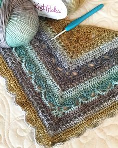 Tammy's lovely shawl in progress, crocheted in our Chroma Fingering yarn in the Manzanita colorway (Free pattern Bruinen on Ravelry) #knitpicks #crochet #yarn #chromayarn #handmade