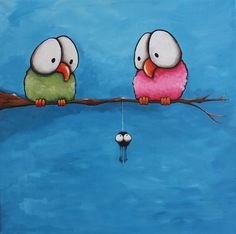 Bird Painting - Awkward by Lucia Stewart