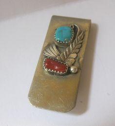 Vintage Navajo Turquoise & Coral Money Clip by Sisters2Vintage, $35.00
