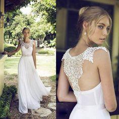 Neu Weiß Elfenbein Barock Perlen Spitze Chiffon Strand Brautkleid Hochzeitskleid