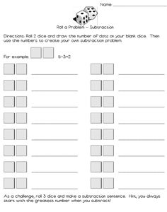Reviewing subtraction and addition but you're tired of the flashcards and your Kindergarteners, First Graders, or Second Graders need something more engaging?    Try this station activity! Grab 2 dice, roll them, draw them, and solve for either an addition or subtraction equation.    You can differentiate by using dice with greater numbers (I have some double dice that I am going to use) or having them write matching story problems.