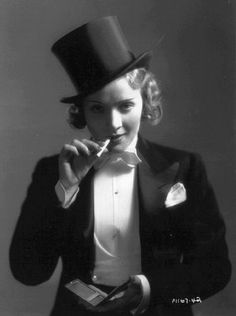 """""""Marlene Dietrich wore this tuxedo in the film Morocco in 1928. In the scene she sings and even kisses a girl…"""""""