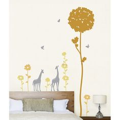 Giraffes in a Flower Field with Butterflies Wall Decal at AllPosters.com