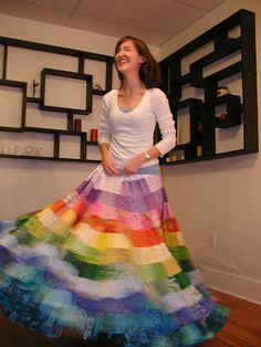 Rainbow Patchwork Skirt. This skirt has been a bit of inspiration to me for years. Perhaps it's time that I make one myself, rainbow or not.