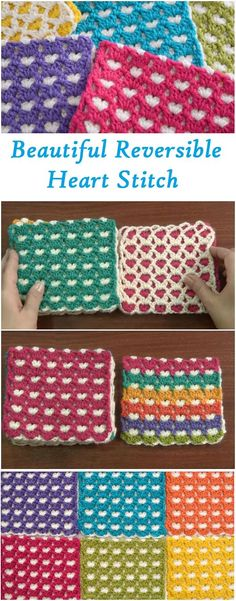 reversible heart stitch tutorial very easy and beautiful #crochetstitches