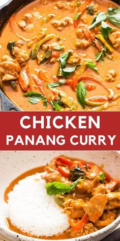 Chicken Panang Curry recipe is easy to make one pan weekday dinner that needs 30 minutes. It's rich, with complex flavors. One of the most amazing Thai red curry you'll ever make. Much better than take-out version of Thai curry. #Thaichicken #chickencurry #thairecipes #chickenrecipes #Thairecipes #thaicurrypaste #panangcurry #easy #coconutcurry #coconutmilk #chicken #dinnerrecipes #Thai