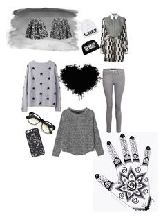 """Black and White stille"" by andreea-andreuta-andri ❤ liked on Polyvore featuring Kenzo, Monki, J Brand, DKNY, Chicwish and Wildfox"