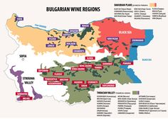 #Wine regions map in #Bulgaria