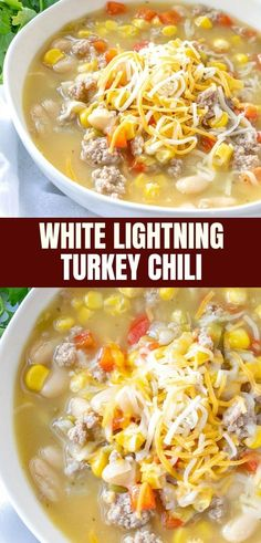 White Lightning Turkey Chili is the ultimate comfort food in a bowl! Loaded with ground turkey, beans, and corn, it's hearty and tasty! #easyrecipes #turkey #chili #comfortfoods #whitechili #fallrecipes