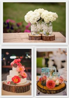 Wooden disk decor. Rustic wedding, Country wedding, Mason jar centerpieces, Hydrangea centerpieces, Cake stand idea, Wood-inspired wedding decor