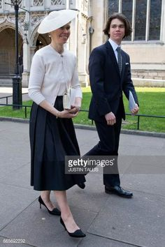 Lady Sarah Chatto and her son Samuel Chatto leave a service of thanksgiving in honour of the late British photographer Antony ArmstrongJones the...