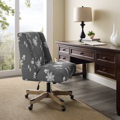 Draper Grey Embroidered Office Chair - Linon style and function to your office with the Draper Office Chair. The soft, plush frame is upholstered in a delicate gray embroidered fabric and features a square back. A washed wood base has metal Swivel Office Chair, Mesh Office Chair, Desk Chair, Office Chairs, Conference Room Chairs, Black Rooms, Desk Height, Chair Backs, Dining Chairs