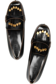 // Chloé fringed patent-leather loafers