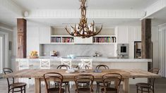 antler chandelier over kitchen table - Google Search