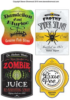 Halloween printables, labels ~ pixie pee? disgusting but so funny