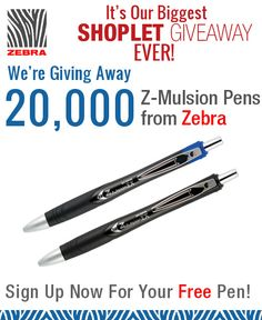 Our largest giveaway to date is sponsored by Zebra Pens! You can claim your new Zebra Z-Mulsion EX pen with just two clicks! Go to our blog to sign up! http://blog.shoplet.com/giveaways/claim-a-zebra-pen-and-win-a-shoplet-gift-card/ Shoplet.com - everything for your business. #Giveaway