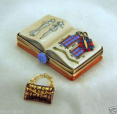 FRENCH LIMOGES BOX FASHION NEWS FASHION STYLES BOOK WITH PURSE & SCISSORS  ebay.com