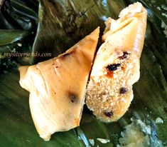 Duckunoo or duckanoo, also referred to as tie-a-leaf and blue drawers (draws), is a Jamaican cuisine dessert made from cornmeal, coconut, spices and brown sugar, tied up in a banana leaf. It is cooked in boiling water.  Duckunoo is believed to have been brought to the island by Africans as there is a similar item, dokonu, eaten in Ghana.