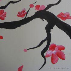 Large wall art cherry blossom DIY using acrylic paints