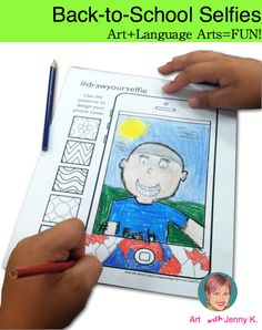 Back to school - All About Me activity for the 21st Century child. Art integration lessons like this selfie drawing and writing activity really engage learners.