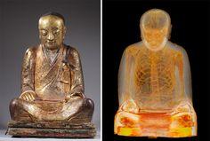 une momie cachée dans une statue de Bouddha - http://www.2tout2rien.fr/une-momie-cachee-dans-une-statue-de-bouddha/