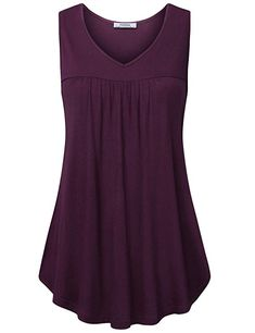 35c4653b9ea Youtalia Women Tunic Tank, Summer V Neck Sleeveless Comfy Loose Fitting T  Shirt Top Dark Red XX-Large. fashion reviews