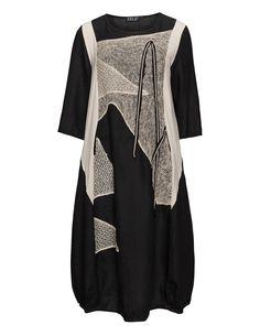 Zele Embellished linen balloon dress in Black / Beige