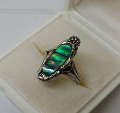 Vintage Ringe - Ring Silber 835 mit Abalone-Muschel 18,2 mm SR449 - ein Designerstück von Atelier-Regina bei DaWanda