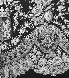 Royal lace, Belgium - note the coat of arms.