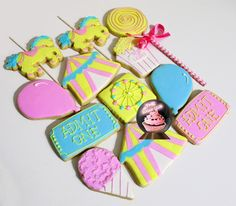 Baby Shower Cookie, Circus Theme Party, Carousel Horse cookies, horse cookies, carousel party, carnival theme, carousel theme party, girl circus party, carousel cookies, girl circus birthday, circus party favors, carousel party favor, carnival cookies, ferris wheel cookie, lollipop cookies, sweets cookies, circus tent, admission ticket cookies, popcorn cookies.  www.thesugarclub.etsy.com