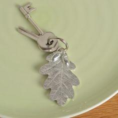 Oak leaf and acorn key ring UK handmade pewter keyrings
