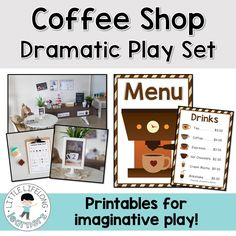 Coffee shop themed dramatic play set for the early childhood classroom! Imaginative Play is a great way to develop oral language skills, cooperation, content vocabulary and social skills in your early childhood classroom! In order to save you some time preparing signs, labels and printables for your imaginative play, I've created a bunch of wonderful printables ready to use in your coffee store role-play area!