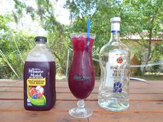 Purple People Eater, Bacardi Wolf Berry Rum fill with Minute Maid Pom Blueberry juice
