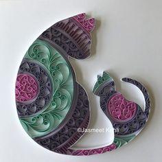 Items similar to Kitty Cat //Handmade Paper art//Paper quilled Cat kitten mandala wall art// colorful wall decor//paper filigree on Etsy Arte Quilling, Paper Quilling Patterns, Quilled Paper Art, Quilling Paper Craft, Paper Beads, Paper Crafts, Quilling Ideas, Paper Quilling For Beginners, Quilling Techniques
