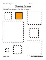 Drawing Squares Worksheet: Trace each square. Then Color the squares. Information: Draw Shapes, Drawing Shapes, Shape, Square
