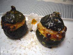Zucchine tonde ripiene con prosciutto cotto e mandorle