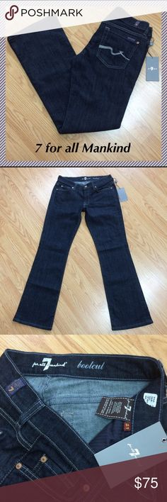 """NWOT 7 for all Mankind bootcut size 27 x 30.5"""" 7 for all mankind bootcut jeans • 30.5"""" inseam, 7.75"""" rise, 14.5"""" across waist, 18.5"""" leg opening • 88% cotton, 10% polyester, 2% spandex • Brand new but only part of inside label still attached 7 For All Mankind Jeans Boot Cut"""