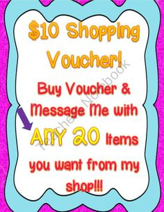 $10 Shopping Voucher! Choose ANY 20 Items from Engaging Lessons on TeachersNotebook.com (1 page)