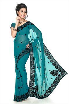 Feminino Crepe Impresso bolltwood Saree Sari Blusa Festival Wear
