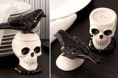 Skull and Raven Salt and Pepper Shakers ~ very Poe! ~ dolomite ceramics, $15/set | via Neato Shop