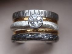 engagement ring wedding bands set in 14k solid by preciousjd, $275.00