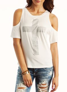 cold shoulder graphic cross tee