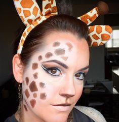 Simple Giraffe Makeup Idea Purple Makeup Looks, Yellow Makeup, I Love Makeup, Safari Costume, Giraffe Costume, Eyeliner Designs, Makeup Designs, Giraffe Make Up, Beauty Skin