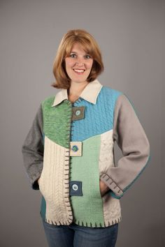 Recycle of sweaters. Recycled Sweaters, Wool Sweaters, Altered T Shirts, Coats For Women, Clothes For Women, Sweatshirt Makeover, Pendleton Wool, Altered Couture, Vest Pattern