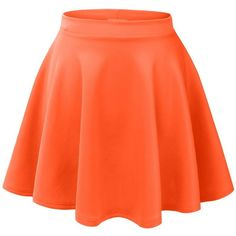 LE3NO Womens Basic Versatile Stretchy Flared Skater Skirt ($5.99) ❤ liked on Polyvore featuring skirts, stretch skirt, circle skirt, orange skirt, orange skater skirt and skater skirt