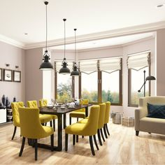 A neutral dining room contrasted with mustard yellow dining chairs Dining Room Paint, Blue Dining Room Chairs, Dining Room Colors, Fabric Dining Chairs, Upholstered Dining Chairs, Dining Room Design, Office Chairs, Kitchen Design, Yellow Dining Chairs