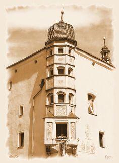 Haus in Rattenberg, Tirol, Austria, in Sepia 'Erker' von hako bei artflakes.com als Poster oder Kunstdruck $16.63, (c) HaKo - Photo