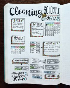 Cleaning Spread  May I just tell you how much I love this page? I'm three months into using it, and it has helped SO much! I color-code the months just like I have through the rest of my journal. I love seeing those little boxes get filled in as I also benefit from a clean house! Win-win!