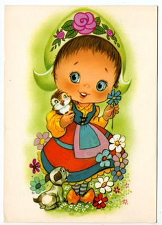 ❤️Vintage Dutch Girl Postcard from the 70's